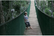 young guest on Monkeyland bridge